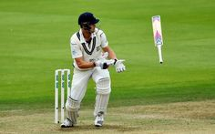 Nick Compton of Middlesex loses control of his bat whilst batting during day one of the Specsavers County Championship Division One match between Middlesex and Yorkshire at Lords