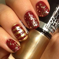 Glitter and gold and red, oh my! (Nail Nap)