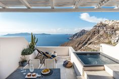 The magical Greek island of Santorini hotel is one of the most popular summer destination. The Porto Fira Suites have just been an upgrade by the design firm. Santorini Hotels, Santorini Island, Spas, Fira Greece, Santorini Greece, Wabi Sabi, Porches, Outdoor Spaces, Outdoor Living