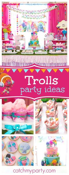 Check out this awesome Trolls birthday party! The birthday cake is so much fun!! Share your party ideas and share yours at CatchMyParty.com #trolls #girlbirthday