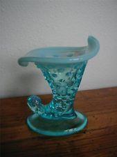 "Fenton Jack in the Pulpit Turquoise Vase w/blue Opalesant Slight Ruffle 3 3/4"""