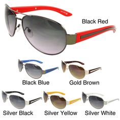 @Overstock.com - Unisex Fashion Aviator Sunglasses - These aviator-style sunglasses are designed for fit the curve of the face. Featuring UV400 lens technology, these fashion sunglasses absorb over 99-percent of harmful UVA and UVB spectrums.  http://www.overstock.com/Clothing-Shoes/Unisex-Fashion-Aviator-Sunglasses/7341409/product.html?CID=214117 $18.49