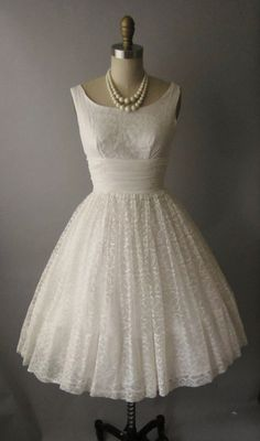 vintage 50's lace chiffon tea length wedding dress-- Rehearsal dinner or reception