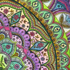 Imprimer Mandala Floral intense complexe Repeat par SarahTravisArt