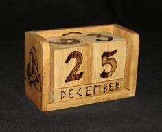 Wooden Block Calendar Sunwheel & Triskelion by FriggasFinery