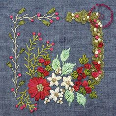 Free pattern. Combines ribbon embroidery with little bit of thread embroidery stitches like -  fly stitch,lazy daisy, feather stitch and french knots.