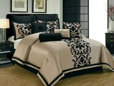 Black Gold Bedroom 10 Piece Queen Dawson Black and Gold Comforter Set White And Gold Bedding, Beige Bedding Sets, Gold Comforter Set, Bedroom Comforter Sets, Queen Comforter Sets, Black Comforter, Tan Bedding, Brown Bedding, Home Decor Ideas