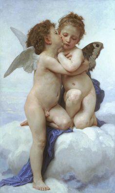 """""""El primer beso"""" o """"Cupido y Psique, infantes"""", 1890, Willian-Adolphe Bouguereau #Magarte #Cupido #Psique #pintura #HistoriadelArte #mitologia 45/365"""