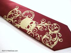 Mens skull tie  Maroon and Gold Custom ties Custom colors original art work www.RokGear.com customer service RokGear@gmail.com