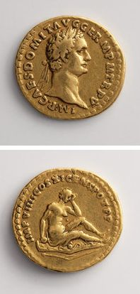 Aureus of Emperor Domitian: Rome, 88-89 AD This gold coin of the Roman emperor Domitian celebrated his successes against the Germans.