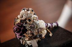 Steampunk Wedding theme blog post / purple / Victorian / vintage / brooch bouquet