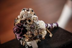 Steampunk Wedding theme blog post / purple / Victorian / vintage / brooch bouquet