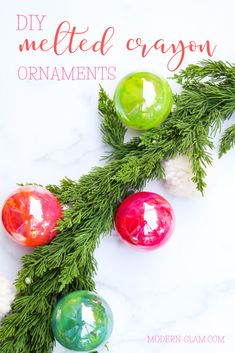 Make beautiful vibrant ornaments using melted crayons and clear balls. Quick and easy Christmas DIY idea. Painting Moving Decor and Organization Merry Christmas, Diy Christmas Ornaments, All Things Christmas, Holiday Crafts, Christmas Holidays, Christmas Decorations, Homemade Christmas, Spring Crafts, Christmas Ideas