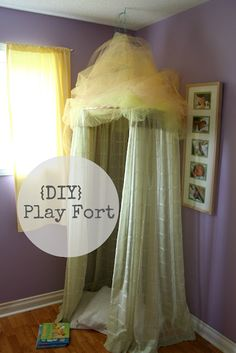 {DIY} Play fort from a hula hoop and curtains!