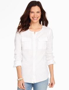 Linen Camp Shirt - White - Talbots