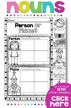 Teach your students all about nouns with this NO PREP printables pack for your… Nouns Kindergarten, Teaching Nouns, Free Kindergarten Worksheets, Nouns First Grade, First Grade Worksheets, Grade 1, Singular And Plural Nouns, Nouns And Verbs, First Grade Writing Prompts