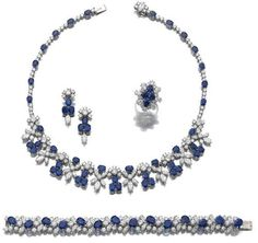 Sapphire and diamond parure    Comprising: a necklace set with oval sapphires, marquise-shaped and brilliant-cut diamonds, length approximately 395mm; a bracelet similarly set, length approximately 175mm, French assay marks; a pair of earrings, post and butterfly fittings; and a ring, size 491/2.     Sotheby's.