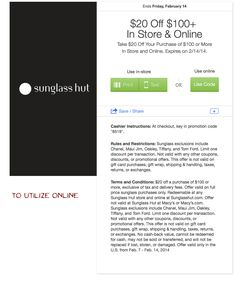 $20.00 off $100.00 at Sunglass Hut. (In-Store or online) Promotion Code, Sunglass Hut, Coupon Codes, Coupons, Coding, Store, Larger, Coupon, Shop