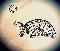 Geometric/ Abstract Turtle Tattoo Design With Ying and Yang By Charlie Greaves #tattoo #tattoos #designs #turtle #sealife #animal #geometric #abstract #yingandyang #tattoodesign