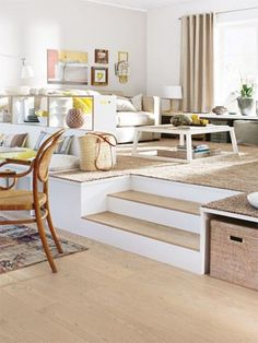 Podest bauen leicht gemacht We are building a pedestal! You want to create a separate dining and living area in … Living Area, Living Room Decor, Living Spaces, Dining Room, Small Apartments, Small Spaces, Diy Deco Rangement, Sweet Home, Home And Living