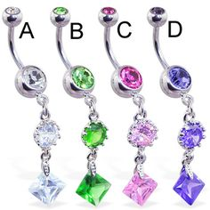 Navel Ring with Vintage Style Single Round and Square CZ Dangle
