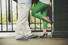 kiss - p.s. love her green pants + heels.  - engagement session (photo by michelle gardella photography)