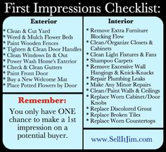 Increase your home's curb appeal with this First Impressions Checklist by SellItJim.com