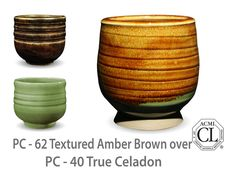 AMACO Potter's Choice layered glazes PC-40 True Celadon and PC-62 Textured Amber Brown.