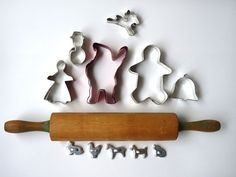 vintage rolling pin & cookie cutters