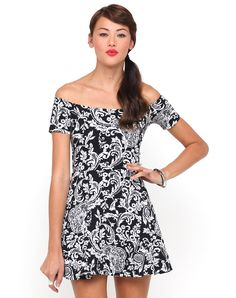 Motel Catalina Off Shoulder Dress in Black and White Paisley, TopShop, ASOS, House of Fraser, Nasty gal