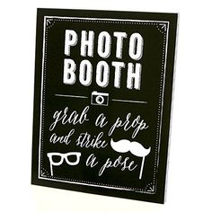 Photo Booth Sign with Stand - Printed on Sturdy Plastic M...