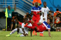 NATAL, BRAZIL - JUNE 16: Jermaine Jones of the United States challenges Daniel Opare of Ghanaduring the 2014 FIFA World Cup Brazil Group G m...