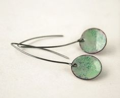 New passion and first attempts. Torch fired enamel. Green enamel earrings #handmade #jewelry by JudysDesigns, $ 25.00