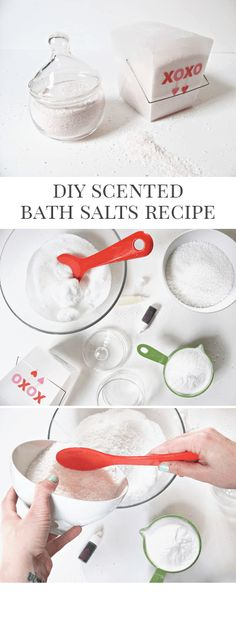 DIY Scented Muscle Soak Bath Salts Recipe and Tutorial - These make a perfect Valentine's Day (or Galentine's Day!) gift idea!