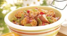 Homestyle Barbecue Potato Salad: It's a BBQ lover's dream!  A welcome addition to the picnic basket, this salad is full of that sweet, tangy taste usually reserved for grilled meats.