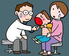 病院にかかる人。それを支える人々、モノなどのイラストです。お医者さんで診察 病院での診察で泣いてしまう子も多い…