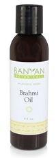 Promotes healthy sleep patternsCooling and relaxing tonic for pitta  This rejuvenative oil is made of organic gotu kola and organic bacopa, both known as brahmi in various parts of India. The herbs are cooked into an organic coconut oil for a cooling application, this product is also offered in a base of organicsesame oil. Brahmi Oil is balancing to all three doshas and is beneficial for clearing and calming the mind and enhancing peaceful meditation. Brahmi is said to bestow intelligence…