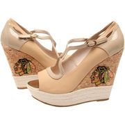 Cuce Shoes Chicago Blackhawks Women's Winning Wedge - Tan
