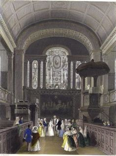 Interior of St George Hanover Square. Engraving by Henry Melville