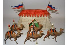 Britains set 48, Egyptian Camel Corps (G, one trooper, four rifles, one camel laeg and one head m