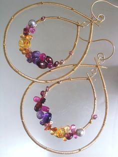 Piedras preciosas oro llena de aros, alambre doble envuelve lágrimas, declaración, amatista, rubí, turmalina, zafiro, granate, Original diseño