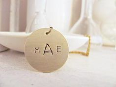 DIY mother's day gifts DIY stamped metal monogram pendant DIY mother's day gifts