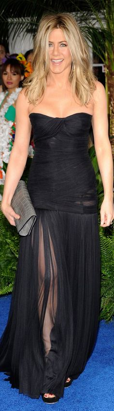 IMAGE - IDEA... A DIFFERENT COLOR AND CHANGE THE TOP.  Jennifer Aniston red carpet dress
