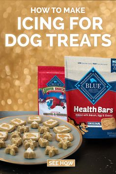 Decorating cookies is half the fun of the holiday season. Now you can frost your dog's favorite crunchy biscuits like BLUE Santa Snacks® and BLUE Health Bars® with this tasty, safe icing for dog treats! Puppy Treats, Diy Dog Treats, Homemade Dog Treats, Dog Biscuit Recipes, Dog Treat Recipes, Baby Food Recipes, Frozen Dog Treats, Dog Cookies, Homemade Baby Foods