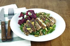 New ready to cook recipes weekly! Middle Eastern Chicken, Chicken Breasts, Cobb Salad, Asparagus, Good Food, Vegetables, Recipes, Pickled Beets, Poultry