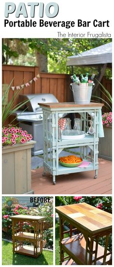 Repurposed Wooden Tiered Side Table Into An Outdoor Beverage Bar Cart | The Interior Frugalista
