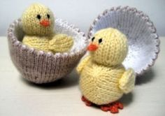 Free knitting pattern - Easter chick and egg. http://www.alandart.co.uk/product/all-patterns/chick-egg-free/