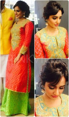 Neha Sharma wore a Swati Vijaivargie kurta and palazzos with jhumka earrings from Curio Cottage along with Steve Madden flats for the promotions of h. Indian Attire, Indian Wear, Classy Dress, Classy Outfits, Indian Dresses, Indian Outfits, Different Suit Styles, Celebrity Dresses, Celebrity Style