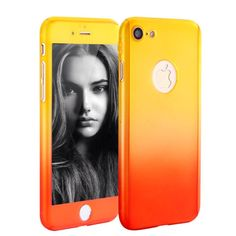 iPhone 7 Case, MAGGICWEI-DL Full Body Coverage Ultra-thin Hard Hybrid Plastic with [Slim Tempered Glass Screen Protector] Protective Case Cover  Skin for Apple iPhone 7 (Yellow/Red) ** Click on the image for additional details.