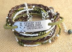 """""""Be Strong And Courageous""""  Hand Stamped Leather Wrap  by AllStrungOut925"""